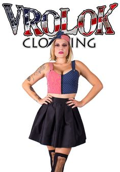 Give a rock star touch to your look with this Pin Up Skater Skirt and American Flag Crop Top. With this 2 pieces dress you can just add a pair of shoes and maybe tights if it happens to be cold out, and be ready to go.
