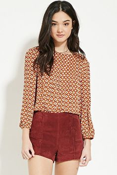 Pintucked Floral Print Blouse   Forever 21 - 2000181542