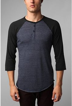 UrbanOutfitters.com > Alternative 3/4-Sleeve Two-Tone Henley