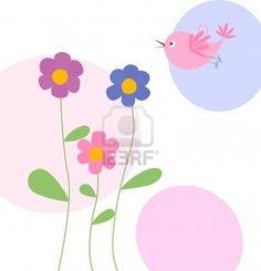 cute flowers and bird Stock Photo