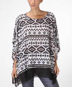 White & Black Fringe Poncho - Women by CottyOn #zulily #zulilyfinds