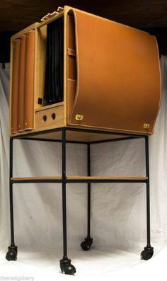 Office Organizer Cart on Wheels Finest Wood Leather by Luxury Designer Pinetti #Pinetti