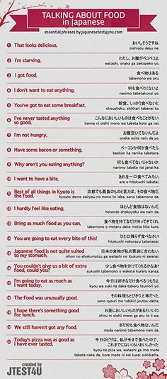 How to Talk about Food in Japanese Infographic #Infographics