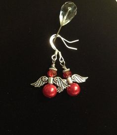 Red Crystal and Pearl Angel Earrings on Etsy, $6.00