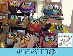 Owl pillows, sin moldes