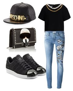 """Untitled #16"" by harooj-1 ❤ liked on Polyvore featuring Moschino, Boutique Moschino, Pierre Balmain, adidas Originals and Fendi"