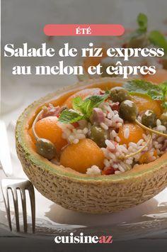 La salade de riz express au melon et câpres est une recette express pour une lunch box par exemple. #recette#cuisine#salade#riz #melon #ete Baked Potato, Cantaloupe, Rice, Baking, Fruit, Ethnic Recipes, Food, Pasta Salad, Chopped Salads
