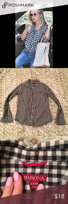 Blue Gingham Plaid Buttom Down Shirt Target Merona blue gingham shirt! Size XS! The perfect layering piece! So in style! Worn with a crew neck sweater or Cardigan over top! Or even a lone. Super versatile! Used but in excellent condition! Merona Tops Button Down Shirts