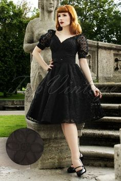 Miss Candyfloss - 50s Venus Luxurious Dress in Black