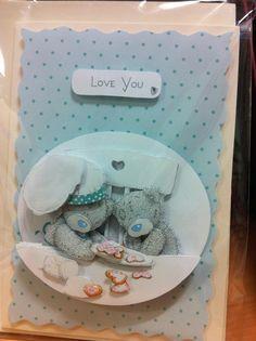 Hand made Card using Tatty Teddy decoupage