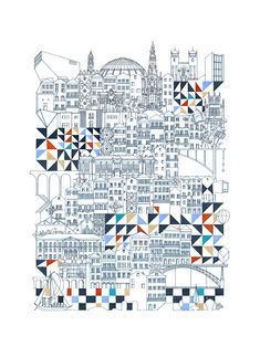 Thin line ink and paper illustrations by architect and illustrator, Marta Vilarinho de Freitas, capture the character of cities one line at a time.