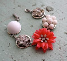 red and white flower bracelet....GIVEAWAY!