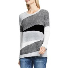 Two By Vince Camuto Crewneck Intarsia Sweater (11635 RSD) ❤ liked on Polyvore featuring tops, sweaters, grey multi, crewneck sweaters, patterned sweaters, grey sweater, crew neck sweaters and sweater pullover