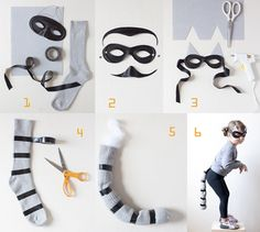 Have your kids made up their minds about what to wear for Halloween? Take a look at these Halloween costume ideas that are super cute, yet easy to make too! Diy Halloween, Halloween Mignon, Halloween Arts And Crafts, Cute Halloween Costumes, Cat Costumes, Holidays Halloween, Raccoon Halloween, Costume Ideas, Burglar Costume