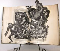 """pop up book Altered book """"Wuthering Heights"""" by Emily Bronte 1940 vintage book with beautiful illustrations about comes with stand and box Altered Books Pages, Book Pages, Emily Bronte, Wuthering Heights, Pride And Prejudice, Alters, Paper Design, Pop Up, Paper Art"""