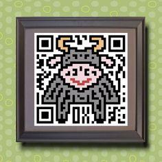 581 Ox Asian zodiac animal as QR code Whimsical  by TwoBananasArt, $20.00