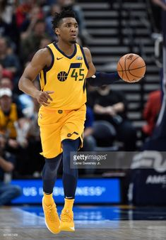 e038b3460 Donovan Mitchell of the Utah Jazz brings the ball up court in the.