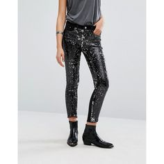 Mango All Over Sequin Skinny Jeans (€71) ❤ liked on Polyvore featuring jeans, black, cropped skinny jeans, skinny jeans, skinny fit denim jeans, denim skinny jeans and raw edge jeans