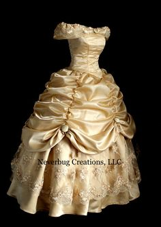 Gold Lace Beauty and the Beast Costume by NeverbugCreations