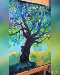 """Acrylic, linen 60 * 80 cm """"at the edge"""" 2020 Canvas Painting Tutorials, Acrylic Painting Canvas, Canvas Art, Art Painting Gallery, Art Techniques, Art Pictures, Art Drawings, Tree Art, Art Tutorials"""