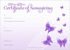 Naming Certificate - Purple Butterflies design. Purple Butterfly, Butterfly Design, Gallery Cafe, Art Gallery, Naming Ceremony, Moving Boxes, Name Day, My Sunshine, Sunshine Coast