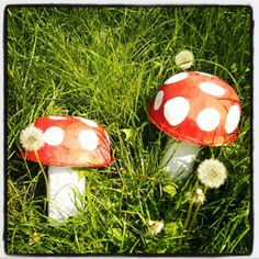 fairy toadstools - make using paint, plastic bottles and salad bowls.