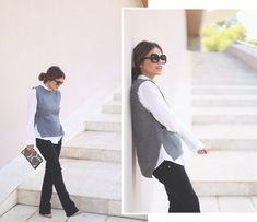 1. jessie chanes - grey sleeveless sweter flared bootcut jeans