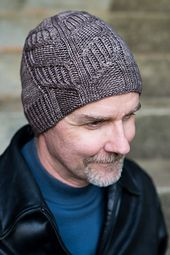 Unisex, men's, hand dyed, cables (cabled) Afreet Hat-Embers pattern by Fatimah Hinds
