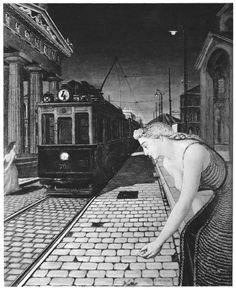 Paul Delvaux - Le tramway porte rouge, Ephèse, 1946