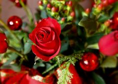 Beautiful red holiday floral arrangement
