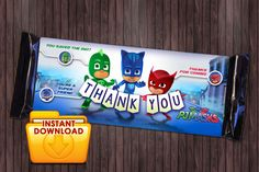 PJ Masks 1 Printable Birthday Party Favor Candy by PartyDesignsDIY