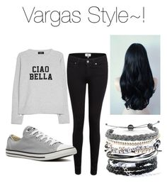 """""""Vargas Style~!"""" by i-liebe-anime ❤ liked on Polyvore featuring MANGO, Paige Denim, Converse and Domo Beads"""