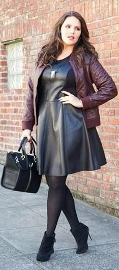 büyük beden deri kombinler 2014 - plus size leather dress
