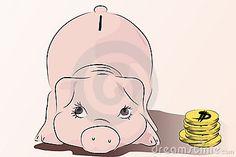Piggy - Save your money - pink pig vector illustration, cartoon style