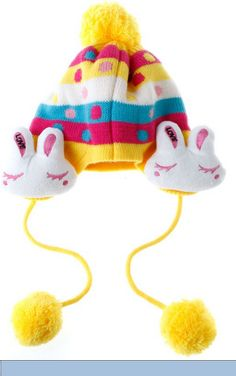 Buy Cute Bunny Ear Knit Wool Winter Cap Hat Beanie for Baby Kid This woolen hat is with two lovely bunnies; it is super warm and good for protecting your kid's head & ears. Cute Kids, Cute Babies, Baby Kids, Kids Hats, Hats For Men, Fancy Dress Hats, Yellow Beanie, Funny Hats, Cute Baby Clothes