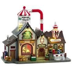 Lemax Village Collection Bell's Gourmet Popcorn Factory with Adaptor # Bell's Gourmet Popcorn Factory with Adaptor Item # 75188 Features Include: Styrofoam balls blown inside popping tower mimicking popcorn popping Big bucket of popcorn s Christmas Village Decorations, Christmas Village Accessories, Lemax Village, Christmas Village Display, Christmas Villages, Christmas Themes, Christmas Crafts, Christmas Stuff, Christmas 2019