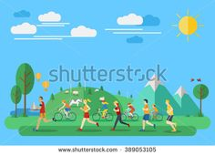 Flat design, Illustration of people jogging and biking in countryside - stock vector