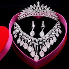 Romantic Shining Beaded Rhinestone Bridal Tiara Necklace Earring Jewelry Sets Wedding Accessories For Wedding Evening Party Pearl Wedding Band Rent Jewelry From Dresstop, $22.12  Dhgate.Com