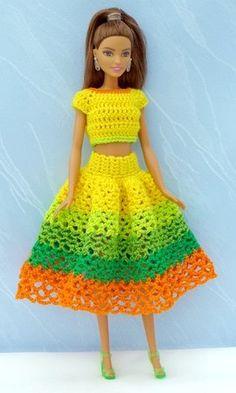 Barbie Bikini Crochet YELLOW ROSE wth Headband