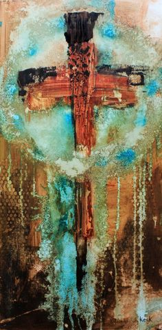 "Title: ABSTRACT CROSS ART PAINTING #061625 Size: 18"" wide x 36"" high x .1.5"" deep Medium: Original abstract painting on gallery wrapped canvas This listing is for the original painting, this is not a"
