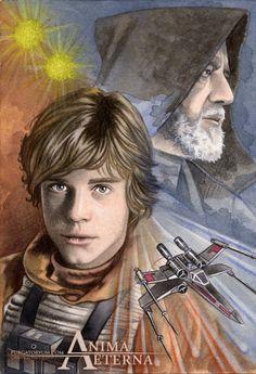 Star Wars Traditional Art - Painted with Watercolors & Pastel Luke Skywalker & Obi-Wan Kenobi (Mark Hamill & Sir Alec Guinness)