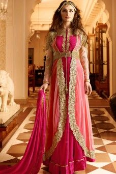 Exotic Hot Pink And Off White Jacket Style Embroidered Anarkali Suit