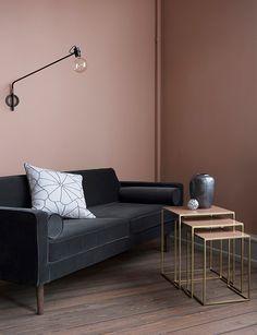 Dusty rose wall and dark gray sofa