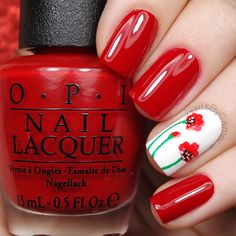 """NailsByCambria en Instagram: """"How adorable are these red poppy nails! I was 100% inspired by the talented @marinelp91❤️ Go check out her page and send some love! Tutorial will be up today I used: @opi_products Alpine Snow and Big Apple Red Red, green, white, and black acrylic paint @whatsupnails Pure Color #10 nail art brush @sechenails Seche Vite All polishes are from @hbbeautybar 