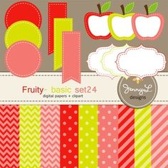 These Digital Papers and Label Cliparts Basic Set 24, Teacher Sellers Kit, Apple labels in Fruity colors: berry red, lime green, peach coral are ideal for creating various art projects, classroom decors, teaching materials, digital scrapbooking, making invitations, other creative fun projects at school or home. ----------------------------------------------------------------------------- ~ 9 pcs.  12 x 12 inches digital background papers (.jpg ) (chevron, circles, strips)~ 12 labels - 4…