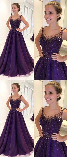 V Neck Beaded Purple Prom Dress #promdressesonline#promdresses#promdresses2018#longpromdresses#beadedpromdresses#purplepromdresses#formaldresses#eveningdresses2018