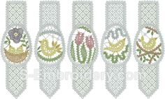 SKU 10536 Easter egg Battenberg lace bookmarks set - includes set of 5 Easter egg bookmarks in Battenburg free standing lace technique Machine Embroidery Designs, Embroidery Patterns, Bobbin Lace Patterns, Lacemaking, Lace Heart, Lace Jewelry, Lace Detail, Bookmarks, Fiber Art