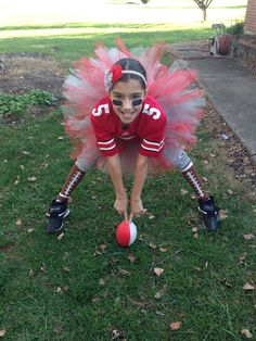 ohio state girl football player halloween costume - Girls Football Halloween Costume