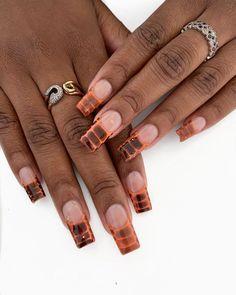 Orange Acrylic Nails, Long Square Acrylic Nails, Orange Nails, Cute Acrylic Nails, Crazy Nail Art, Crazy Nails, Glam Nails, Dope Nails, Beauty Nails