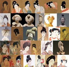 """Hairstyles of Tang Dynasty Women """"In early Tang, hair ornaments were rather simple, but during the reign of Emperor Taizong the buns got higher and higher and the number of styles grew."""" (5000 Years..."""